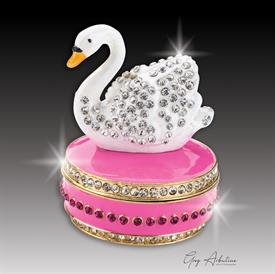 "-,pink $ Swan ""Bethany""  Enameled & Bejeweled Box by Artist Greg Arbutine, 156 grams, 274 Austrian A Grade Crystals, 2.7""T x 1.8"" W"