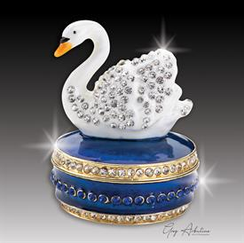 "-,cobalt blue$ Swan ""Timothy""  Enamaled & Bejeweled Box by Artist Greg Arbutine, 156 grams, 274 Austrian Grade A Crystals, 2.7""Hx"