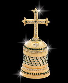 "_,$ Emerald Green Cross ""Paul"" Bejeweled & Enameled box made of metal by Artist Greg Arbutine, 198 grams, 428 Austrian Grade A cryst"