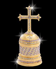 "_,$ Violet Purple Cross ""Pius"" Bejeweled & Enameled box made of metal by Artist Greg Arbutine, 198grams, 428 Austrian Grade A Crystal"
