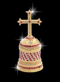 "_,$ Rose Pink Cross ""Francis"" Bejeweled &Enameled box made of metal by Artist Greg Arbutine,198grams,428 Austrian A Grade Crystals"