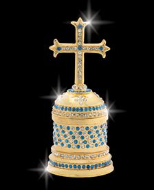 "_,$ Blue Cross ""Gregory"" Bejeweled & Enameled box made of Metal by Artist Greg Arbutine, 198 grams,428 Austrian A grade crystals,4.6""Hx"
