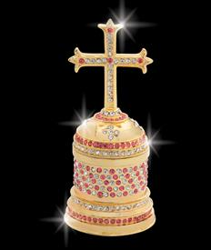 "_,$ Pink Cross ""Peter"" Bejeweled & Enameled box made of metal by Artist Greg Arbutine, 198grams,428 Austrian A grade Crystals,4.6""Hx 2"""