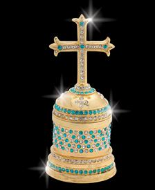 "_,$ Turquoise Cross ""Alexander"" Bejeweled &Enameled Box made of Metal by Artist Greg Arbutine,198grams,428Austrian Grade A crystals"
