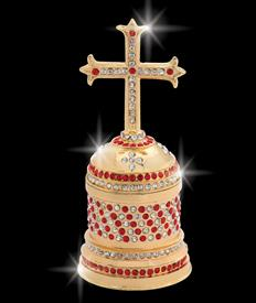 "_,$ Red Cross ""John"" Bejeweled & Enameled Box made of Metal by Artist Greg Arbutine, 198grams,428 Austrian Grade A Crystals, 4.6""Hx2""W"