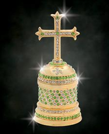 "_,$ Peridot Cross ""John Paul"" Bejeweled & Enameled Box made of Metal by Artist Greg Arbutine,198grams,428Austrian A grade Crystals,4.6""Hx2"""