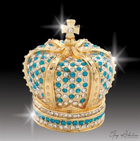 "-,$ Turquoise Crown ""Arthur"" Bejeweled & Enamaled box made of Metal by Artist Greg Arbutine, 167grams,400 Austrian Grade A Crytals 2.4""Hx2""W"