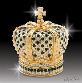 "-,$ Emerald Crown ""Richard"" Bejeweled & Enameled box made of metal by Artist Greg Arbutine,167grams,400 Austrian Grade A Crystals,2.4""Hx2""W"