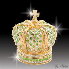 "-,$ Peridot Crown ""Elizabeth"" Bejeweled & Enameled Box made of metal by Artist Greg Arbutine,167grams,400Austrian Grade A crystals,2.4""Hx2""W"