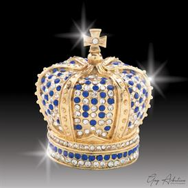 "-,$ Blue Crown ""George"" Bejeweled & Enameled Box made of Metal by Artist Greg Arbutine,167grams,400 Austrian Grade A Crystals,2.4""Hx2""W"