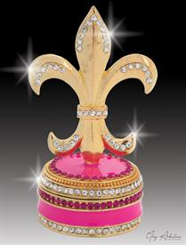 "-,$ Pink Fleur de lis ""Marseille"" Bejeweled & Enameled box made of metal by Artist Greg Arbutine,148grams,229 Austrian Crystals, 3.8""H"
