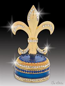 "-,$ Cobalt Blue Fleur de lis ""Lyon"" Bejewled & Enameled box made of metal by Artist Greg Arbutine,148grams,229 Austrian Crystals"