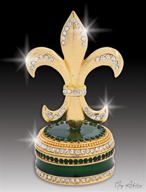 "-,$ Emerald Green Fleur de lis ""Strasbourg"" Bejeweled & Enameled box made of metal by Artist Greg Arbutine,148grams,229Crystal"