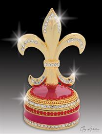 "-,$ Burgundy Fleur de lis ""Bordeaux"" Bejeweled & enameled box made of metal by Artist Greg Arbutine,148grams,229Austrian Crystals,3."