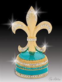 "-,$ Turquoise Bowl Fleur de lis ""Paris"" Bejeweled & Enameled Box made of metal by Artist Greg Arbutine,148grams,229 Austrian Cryst"