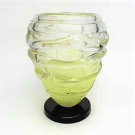 ,CHARLES SCHNEIDER ART DECO VASE.IRREGULARLY LAYERED TRANSLUCENT YELLOW/CHARTREUSE POLISHED GLASS APPLIED TO A DEEP CRANBERRY RED BASE.7.25""