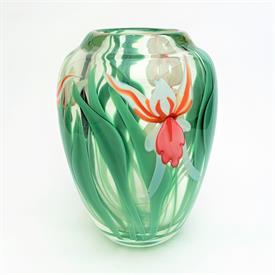 """,ORIENT & FLUME LILY VASE BY ARTIST S.BEYERS. 8.5"""" TALL. LIMITED EDITION 0280YCOF526."""