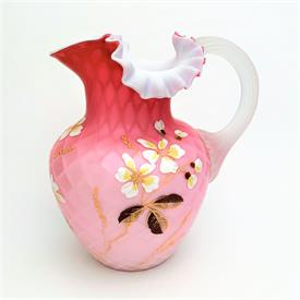 ",DIAMOND QUILTED CASED PINK SATIN GLASS ENAMELED BEVERAGE PITCHER. 8""TALL. VICTORIAN PERIOD."