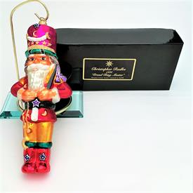 """,MOSCOW CIRCUS 'GRAND RING MASTER' HAND BLOWN GLASS ORNAMENT IN ORIGINAL BOX. 9"""" LONG, 3.6"""" WIDE. 2.2"""" DEEP"""