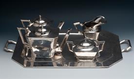 ",ART DECO MEXICAN STERLING SILVER TEA & COFFEE SET 145.55 TROY OUNCES 23"" X 14"" TRAY, COFFEE 5.5"" TALL, TEA, CREAM & SUGAR"