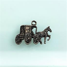 ",VINTAGE HORSE & BUGGY CHARM. STERLING SILVER. SIGNED MD. .75"" LONG"