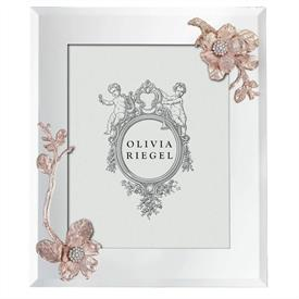 """-,8X10"""" ROSE GOLD BOTANICA FRAME. MIRRORED GLASS WITH ROSE GOLD FINSHED BLOSSOMS WITH EUROPEAN CRYSTALS. MOIRE SILK BACK"""