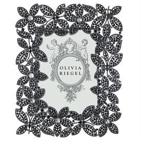 "-,5X7"" STELLA FRAME. CAST PEWTER WITH 100'S OF HAND-SET JET-BLACK EUROPEAN CRYSTALS. ELEGANT MOIRE SILK BACK."