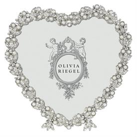 """-,3.5"""" SILVER CONTESSA HEART FRAME. 4.25"""" WIDE, 4"""" TALL. SILVER FINISHED CAST PEWTER HAND-SET WITH EUROPEAN CRYSTALS."""