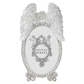 """-,2.5X3.5"""" ANGEL WINGS FRAME. 5"""" TALL, 3"""" WIDE. SILVER FINISHED CAST PEWTER WITH HAND-SET CRYSTALS AND WHITE ENAMELING."""