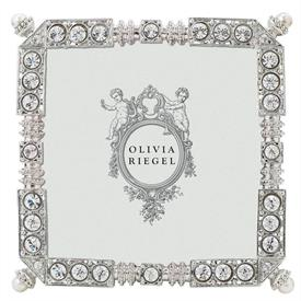 """-,3.5"""" MADISON FRAME. SILVER FINISHED CAST PEWTER HAND-SET WITH CLEAR EUROPEAN CRYSTALS AND FAUX PEARLS. 4.25"""" TALL"""