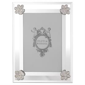 "-,4X6"" PAW PRINT FRAME. BEVELED GLASS ADORNED WITH SILVER FINISHED CAST PEWTER ENCRUSTED WITH EUROPEAN CRYSTALS. 8"" TALL, 6"" WIDE"