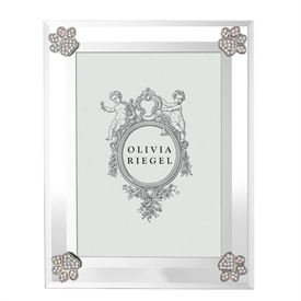 """-,5X7"""" PAW PRINT FRAME. BEVELED GLASS ADORNED WITH SILVER FINISHED PEWTER ENCRUSTED WITH EUROPEAN CRYSTALS. 9"""" TALL, 7"""" WIDE"""