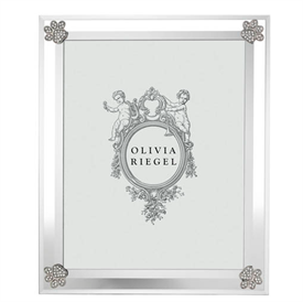 """-,8X10"""" PAW PRINT FRAME. BEVELED GLASS ADORNED WITH SILVER FINISHED CAST PEWTER ENCRUSTED WITH EUROPEAN CRYSTALS. 12"""" TALL, 10"""" WIDE"""