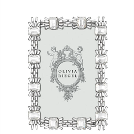 """-,4X6"""" CRYSTAL AURORA FRAME. SILVER FINISHED CAST PEWTER SET WITH CLEAR BAGUETTE & CUSHION CUT EUROPEAN CRYSTALS. 6.75""""TALL, 4.75"""" WIDE"""