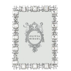 """-,5X7"""" CRYSTAL AURORA FRAME. SILVER FINISHED CAST PEWTER SET WITH CLEAR BAGUETTE & CUSHION CUT EUROPEAN CRYSTALS. 8"""" TALL, 5.75"""" WIDE"""