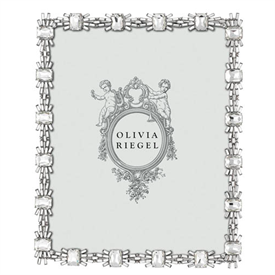 """-,8X10"""" CRYSTAL AURORA FRAME. SILVER FINISHED CAST PEWTER SET WITH CLEAR BAGUETTE & CUSHION CUT EUROPEAN CRYSTALS. 10.75"""" TALL, 8.75"""" WIDE"""