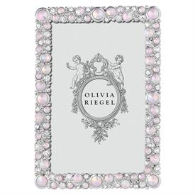 "-,4X6"" ROSE MCKENZIE FRAME. SILVER FINISHED CAST PEWTER HAND SET WITH CLEAR EUROPEAN CRYSTALS & BLUSH OPALINE GLASS. 6.75"" TALL, 4.75"" WIDE"