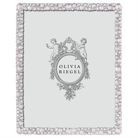"""-,8X10"""" ROSE MCKENZIE FRAME. SILVER FINISHED CAST PEWTER HAND-SET WITH CLEAR EUROPEAN CRYSTALS & BLUSH OPALINE GLASS GEMS. 10.75""""T, 8.75""""W"""