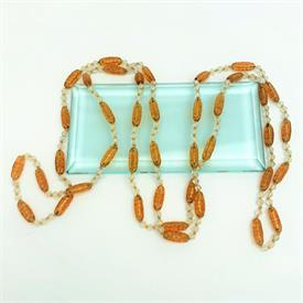 ",1920'S MOLDED AMBER CZECH GLASS & CUT CLEAR GLASS FLAPPER STYLE NECKLACE. HAND KNOTTED. 58"" LONG"
