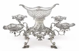 """,TIFFANY (MOSTLY) STERLING SILVER EPERGNE WEIGHT 121.20 T.OZ. ALL TIFFANY EXCEPT TOP BASKET IS BY JAMES KING 1770 LONDON 24"""" SPAN 12"""" HIGH"""