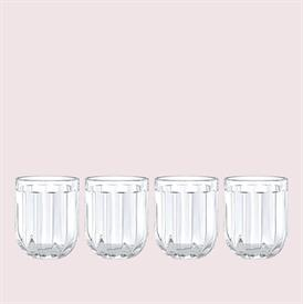 -CLEAR 4-PIECE DOUBLE OLD FASHIONED GLASS SET. 12 OZ. CAPACITY. DISHWASHER SAFE. BREAKAGE REPLACEMENT AVAILABLE.