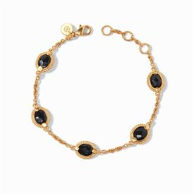 -,OBSIDIAN BLACK DELICATE BRACELET. FACETED OVAL GLASS GEMSTONES IN A 24K GOLD PLATED CHEVRON SURROUND WITH A SLENDER CHAIN. ADJUSTABLE