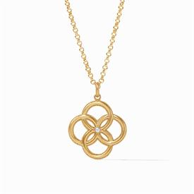 "-,PENDANT. 24K GOLD PLATED INTERLOCKING PETAL WITH PEARL ACCENT PENDANT ON 36"" LONG CHAIN, WHICH DOUBLES UP FOR 18"" LONG STRANDS."