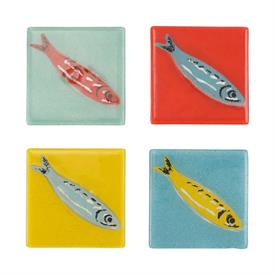 "-,SET OF 4 COASTERS. 4"" SQUARE. HANDPAINTED. HAND WASH"