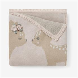 """-,FAWN COTTON KNIT BABY BLANKET. 30X40"""". MACHINE WASH, TUMBLE DRY LOW."""