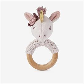 "-:LUNA UNICORN WOODEN BABY RATTLE. HAND CROCHETED WITH 100% COTTON. 6"" LONG. SPOT CLEAN ONLY"