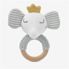 "-:ELEPHANT PRINCE WOODEN BABY RATTLE. HAND CROCHED WITH 100% COTTON KNIT. 6"" LONG. SPOT CLEAN ONLY"