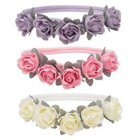 -,FLOWER BABY GIRL HEADBAND 3-PACK. FITS BABIES 0-12 MONTHA. SOFT, STRETCHY NYLON. WIPE CLEAN AS NEEDED