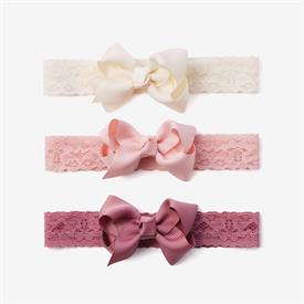 """-:MAUVE LACE BABY GIRL HEADBANDS, 3-PACK. 1.5"""" GROSGRAIN RIBBON DETAIL. WIPE CLEAN AS NEEDED."""