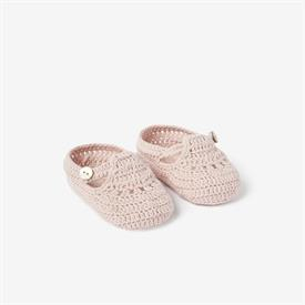 -:BLUSH T-STRAP HAND CROCHETED BABY BOOTIES. SIZE 0-6 MONTHS. 100% COTTON. DAMP WIPE TO CLEAN.